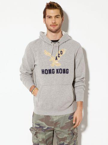 סווטשירט קפוצ'ון עם הדפס לוגו Hong Kong / גברים