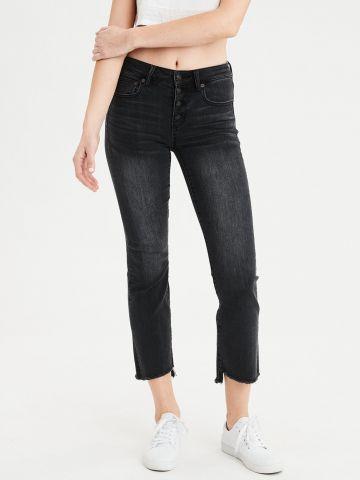 ג'ינס 7/8 עם סיומת גזורה High waisted crop flare