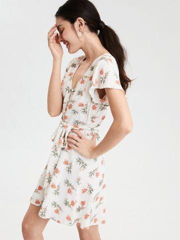 שמלה מכופתרת בהדפס פרחוני עם סרט קשירה