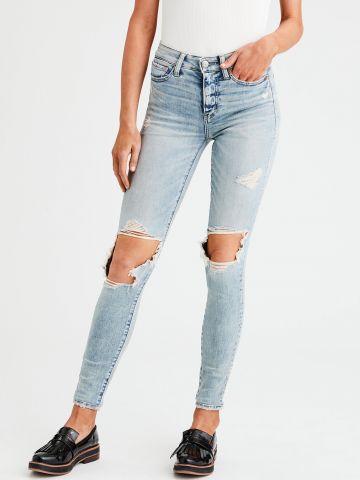 ג'ינס סקיני סטרץ' עם קרעים