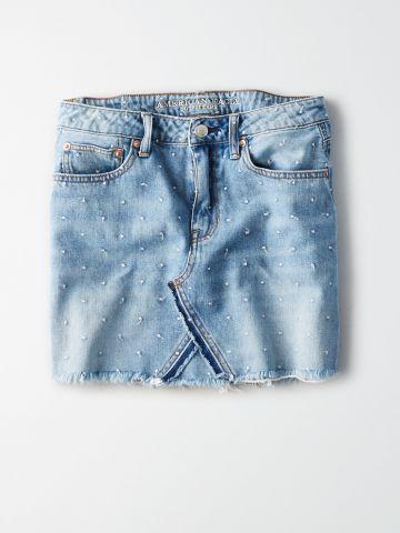 חצאית ג'ינס מיני עם טקסטורת נקודות