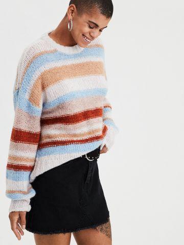 סוודר צמר בדוגמת פסים מולטי קולור