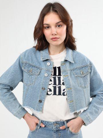ג'קט ג'ינס קרופ עם עיטורי אבנים