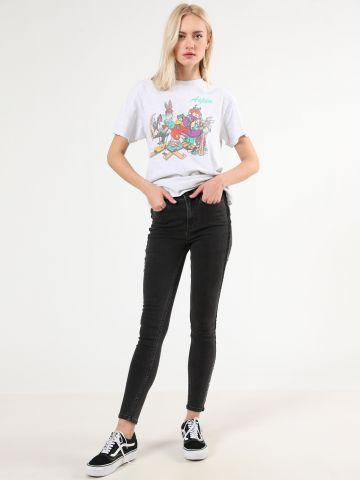 ג'ינס סקיני ווש עם פאנלים בצדדים