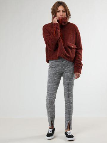 מכנסיים בהדפס פפיטה משבצות עם שסעים