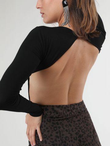 בגד גוף שרוולים ארוכים עם גב פתוח
