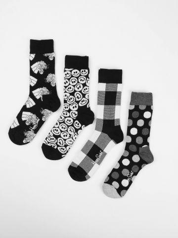 מארז 4 זוגות גרביים בהדפסי מונוכרום / נשים