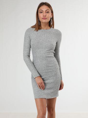 שמלת מיני ריב שרוולים ארוכים