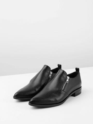נעלי אוקספורד דמוי עור עם סגירת רוכסנים