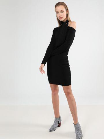 שמלת סריג מיני אוף שולדר שרוולים ארוכים