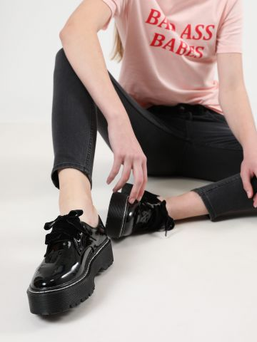 נעלי אוקספורד פלטפורמה מבריקות