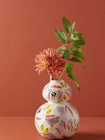 אגרטל חרס עם עיטורי פרחים Mathilde