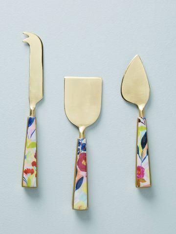 סט 3 סכינים לחיתוך גבינה עם ידיות פרחוניות