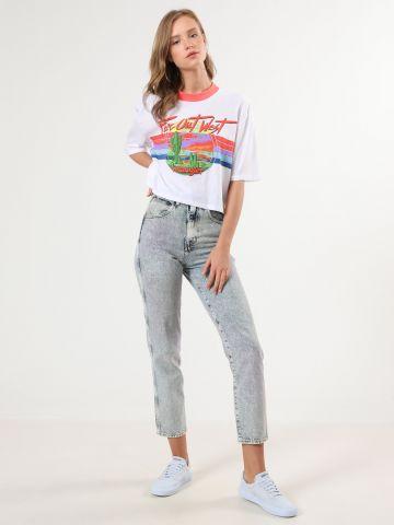 ג'ינס MOM אסיד ווש צבעוני