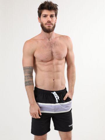 מכנסי בגד ים קולור בלוק עם לוגו