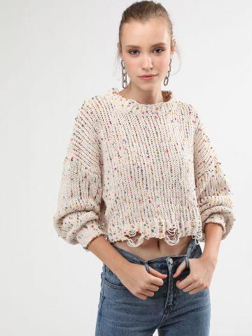 סוודר קרופ מיני פונפונים מולטי קולור