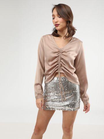חצאית מיני פאייטים מטאליים