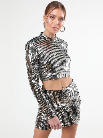 חולצת קרופ פאייטים צווארון גבוה Dark Glam Girl / תחפושות לפורים