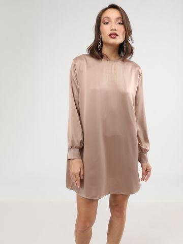 שמלת מיני סאטן עם שרוולים נפוחים
