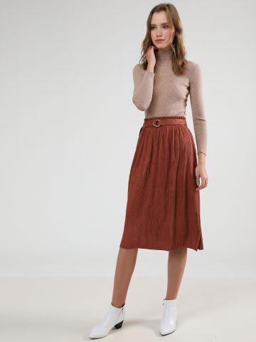 חצאית מידי ריב קטיפה עם חגורה נלווית