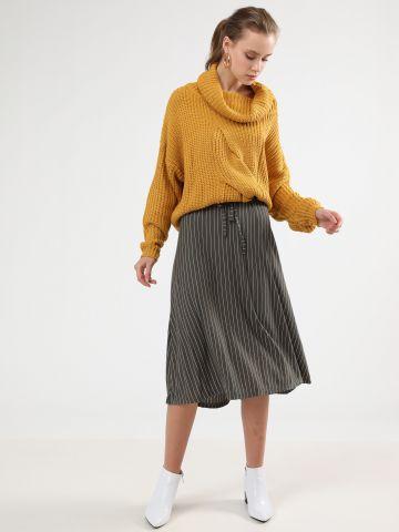 חצאית פייפרבאג מידי בהדפס פסים