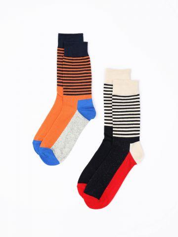מארז 2 זוגות גרביים בהדפס פסים מולטי קולור / נשים