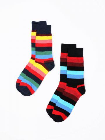 מארז 2 זוגות גרביים בהדפס פסים / נשים