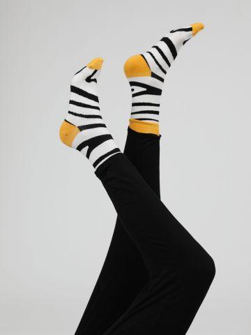 מארז 2 זוגות גרביים בהדפס זברה / נשים