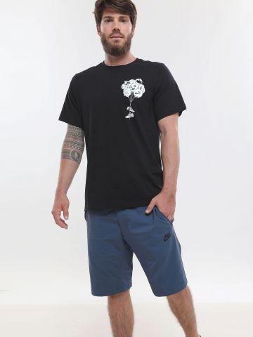 מכנסי ניילון ברמודה עם הדפס לוגו
