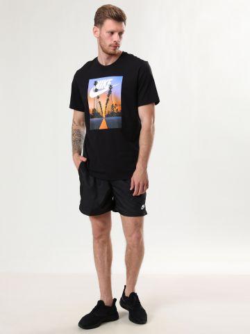 מכנסי ספורט ניילון קצרים עם רקמת לוגו