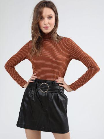 חצאית מיני פייפרבאג דמוי עור
