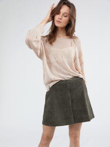 חצאית קורדורוי מיני עם כפתורים