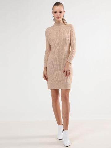 שמלת סוודר וופל עם צווארון חצי