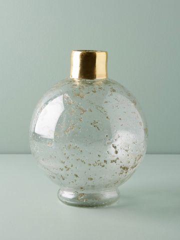 אגרטל זכוכית עגול עם צוואר מוזהב