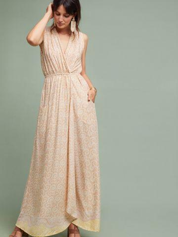 שמלת מעטפת מקסי בהדפס עלים Nat by Natalie Martin