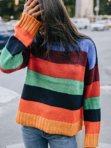 סוודר צמות בדוגמת פסים מולטי קולור UO