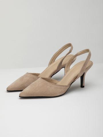 נעלי עקב דמוי זמש עם רצועה אחורית / נשים