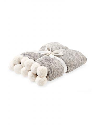 שמיכה פרוותית מלנז' עבה עם פונפונים גדולים
