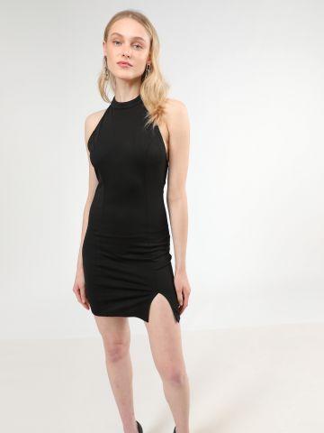שמלת מיני קולר עם שסע