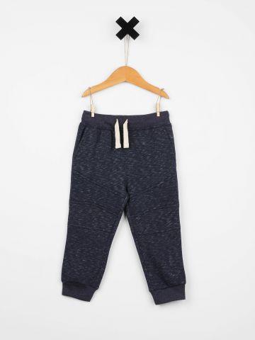 מכנסי פוטר מלנז' עם תפרים בולטים / בייבי בנים