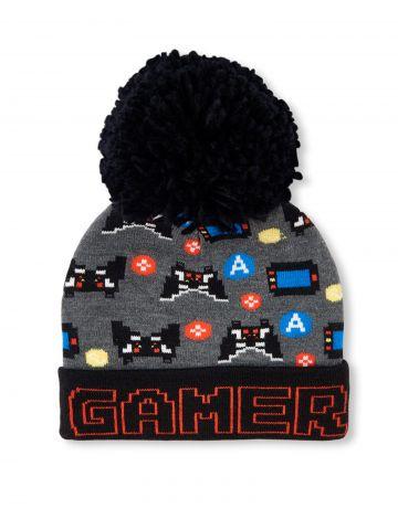 כובע גרב בהדפס Gamer עם פונפון גדול / בנים