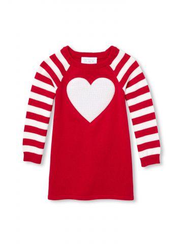שמלת סריג בדוגמת פסים ולב בחזית / בייבי בנות