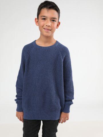 סוודר צמר בטקסטורת וופל