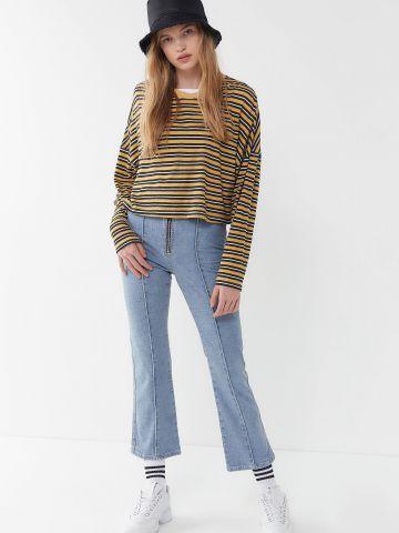 ג'ינס קרופ מתרחב עם רוכסן חשוף BDG