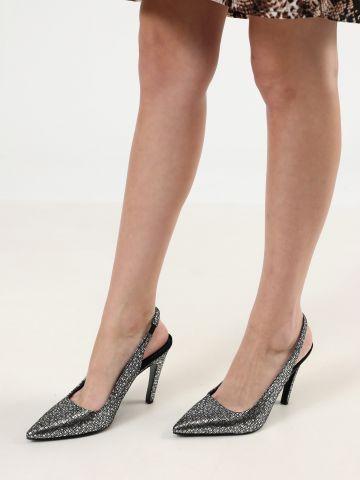 נעלי עקב סטילטו עור בגימור מטאלי