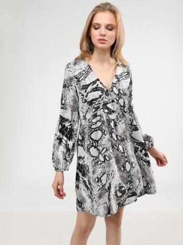 שמלת מיני וי בהדפס נחש