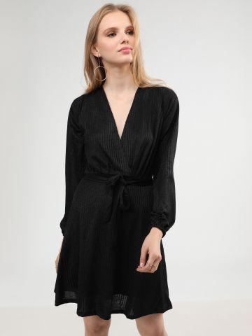 שמלת מיני ריב בסגנון מעטפת