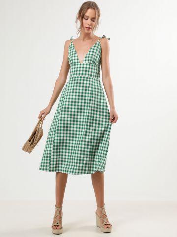 שמלת מידי בהדפס משבצות עם כתפיות מלמלה