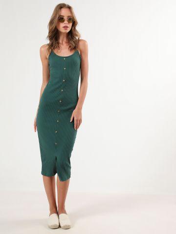 שמלת ריב מידי עם שסע ועיטור כפתורים