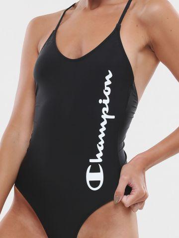 בגד ים שלם לוגו עם איקס בגב